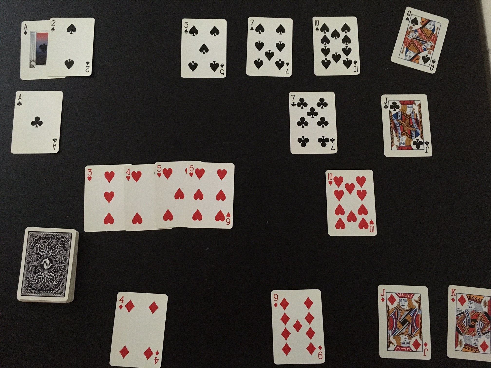 Picture of cards laid out on a table