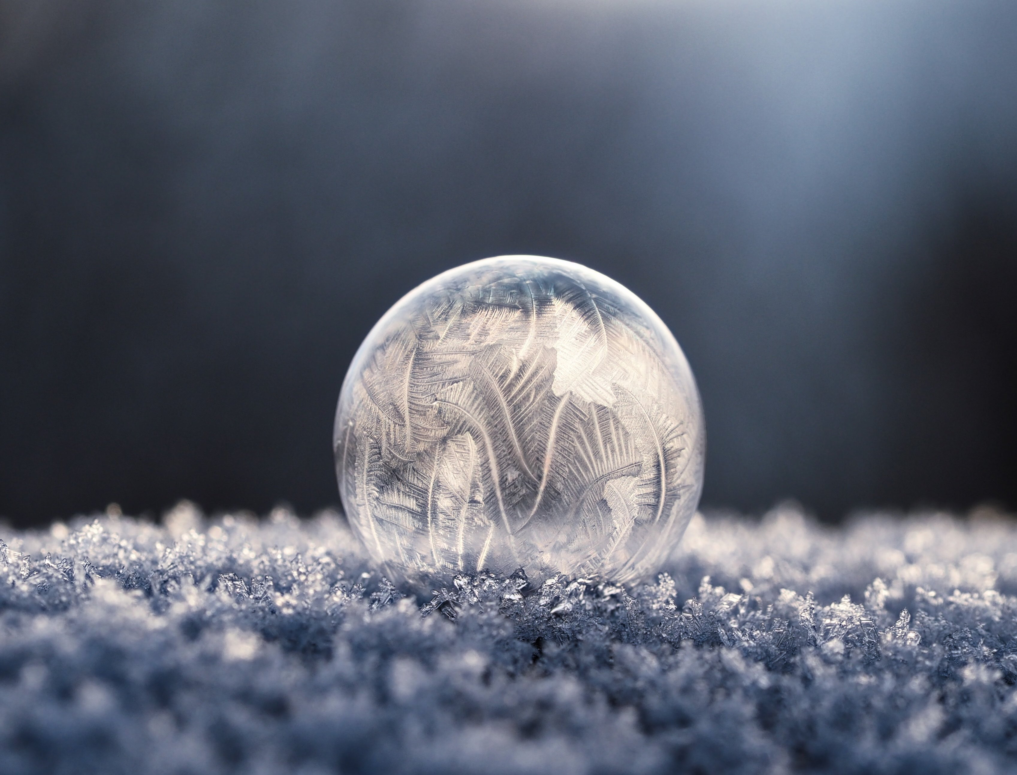 Perfect sphere made of ice with interesting texture